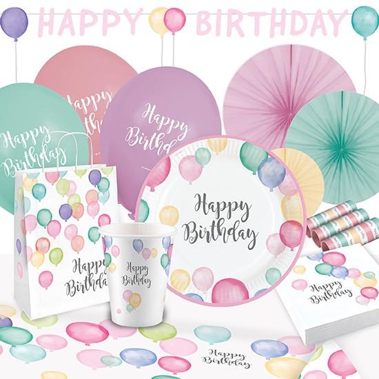 Happy Birthday Pastel Partypaket 50-tlg