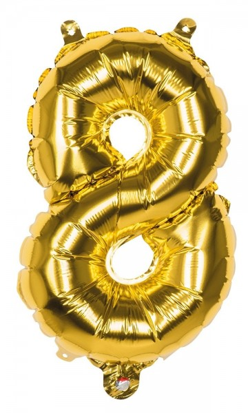 Foil balloon number 8 gold metallic 36cm