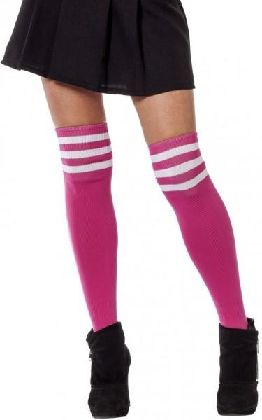 Pink-Weiße College Girl Kniestrümpfe