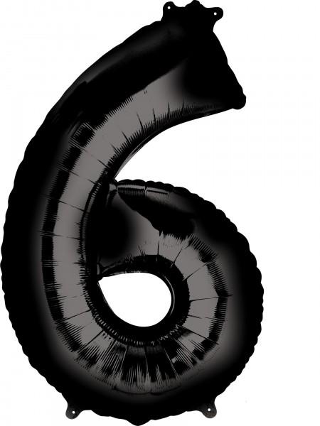 Zahlen Folienballon 6 schwarz 86cm