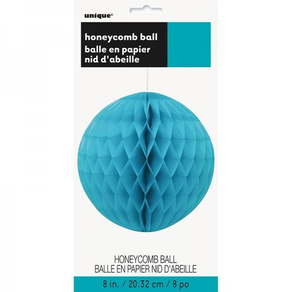 Bola decorativa nido de abeja azul turquesa 20cm