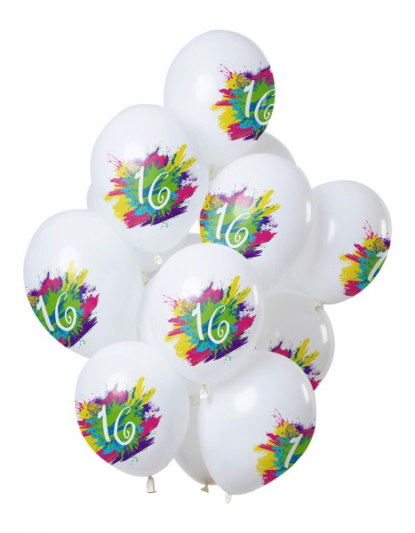 16.Geburtstag 12 Latexballons Color Splash