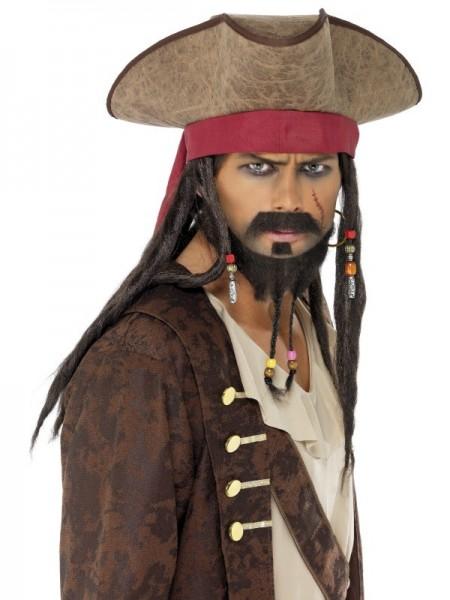 Piratenhut Mit Dreadlocks Braun-Rot