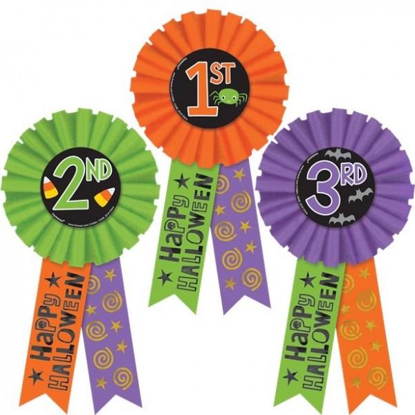 3 rosetas de honor de ganador de Halloween