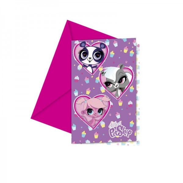 6 Littlest Pet Shop Cupcake Party Einladungskarte 14 x 9cm