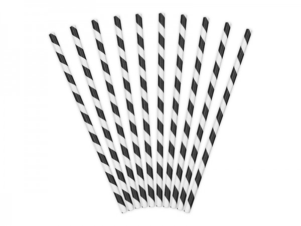 10 striped paper straws black 19.5cm