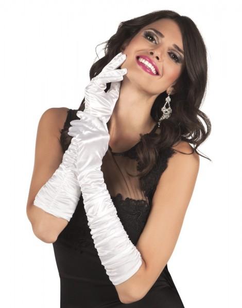 Weiße Glamour Handschuhe Hollywood