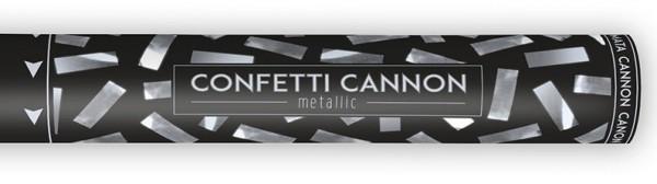 Canon à confettis rayé argent 40cm
