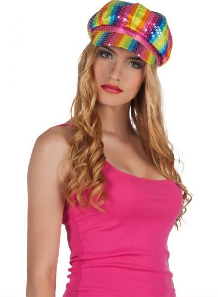 Cappellino con paillette arcobaleno
