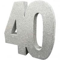 Tischdeko glitzernde Zahl 40 silber 20cm