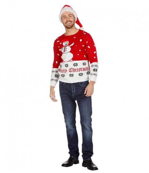 Weihnachtspullover Schneemann Merry Christmas