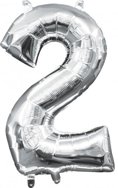 Mini ballon aluminium numéro 2 argent 35cm