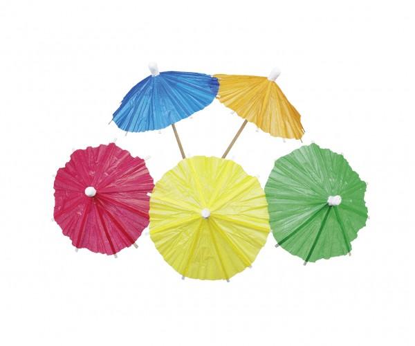 8 sombrillas de papel Holiday Island multicolor 10cm