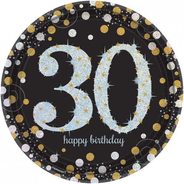 8 assiettes en papier doré 30ème anniversaire 23cm