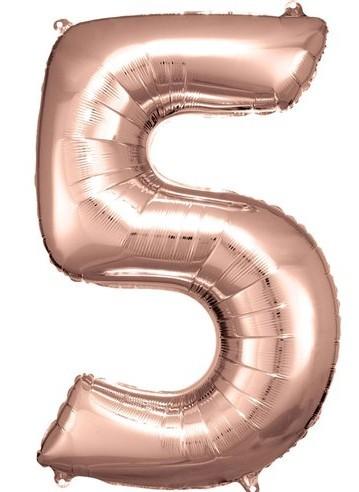 Ballon numéro 5 en or rose 86cm