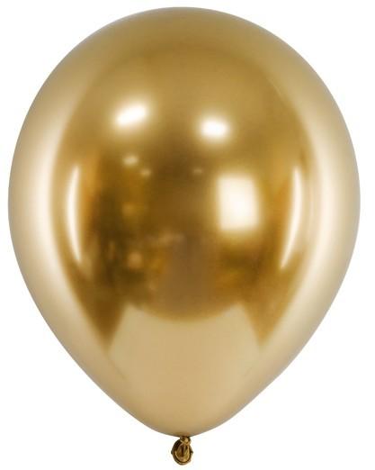 50 ballons métalliques fête perle or 27cm