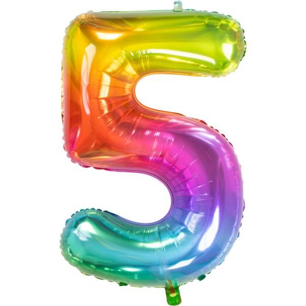 Zahl 5 Super Rainbow Folienballon 86cm