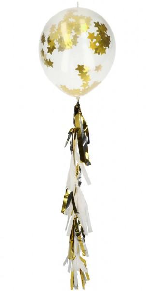 Ballon 3er Set mit Sterne Konfetti und Quastenpendel gold