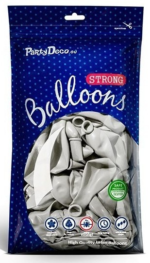 10 party star metallic balloons silver 30cm