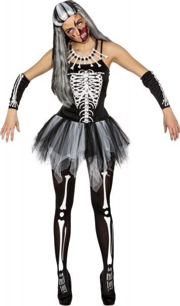Schauriges Skelettkleid Mit Tüllrock Für Damen 1