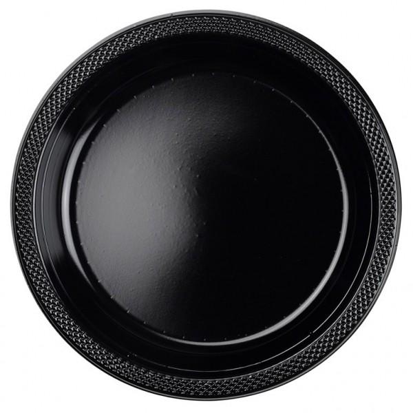 10 assiettes en plastique Partytime noir 23cm
