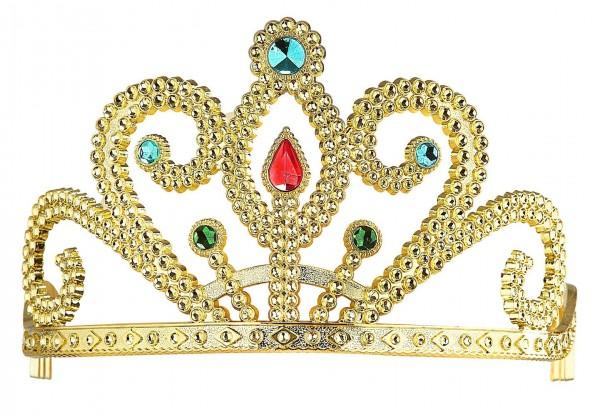 Diadema dorada con piedras preciosas