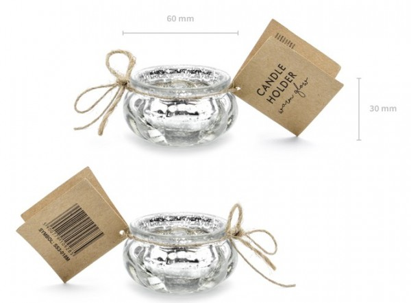 4 Candle Holders Silver 6cm x 3cm