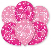 6 Lovely Birthday Girl Luftballons 27,5 cm