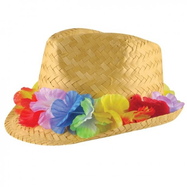 Hawaii straw hat with flower ribbon