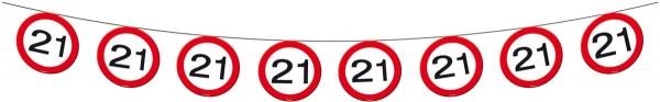 Segnale stradale della catena del pennant 21 ° compleanno