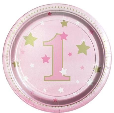 8 Talerz papierowy Gwiazda na 1.urodziny 18 cm