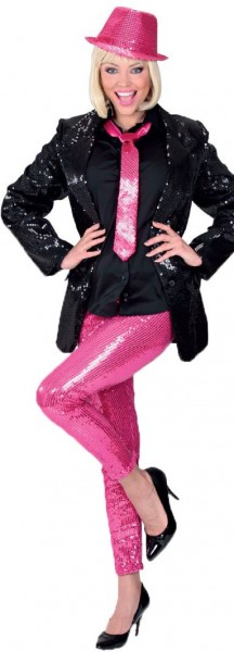 Roze legging met lovertjes