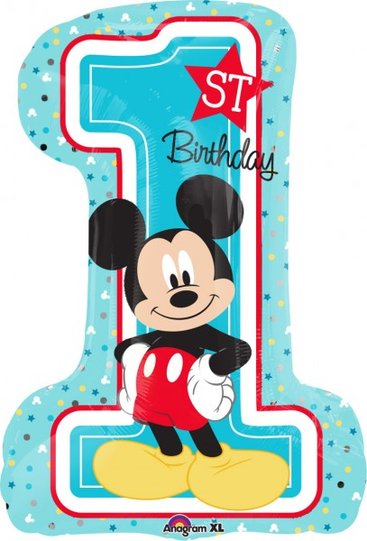Folienballon Mickey Mouse 1.Geburtstag Figur