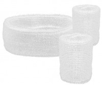 Weiß 1980er Jahre Stirnband Schweißbänder Set