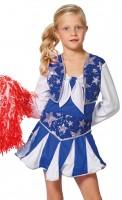 Glitzerndes Cheerleaderin Kinderkostüm In Blau-Weiß