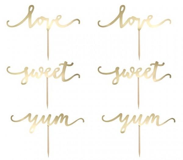 6 Love & Sweets Tortenstecker gold 13cm
