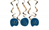 60. Geburtstag Hängedeko 5 Stück Elegant blue