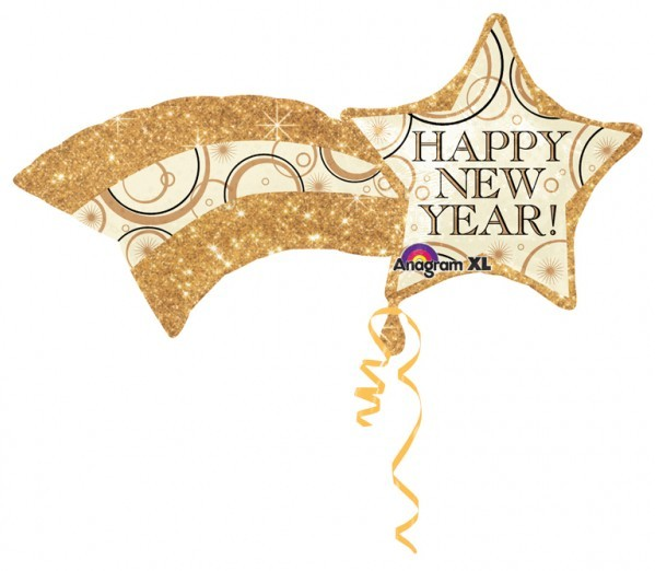 Ballon aluminium étoile filante Bonne année