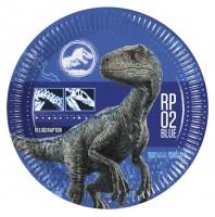 8 Jurassic World Pappteller blau 23cm