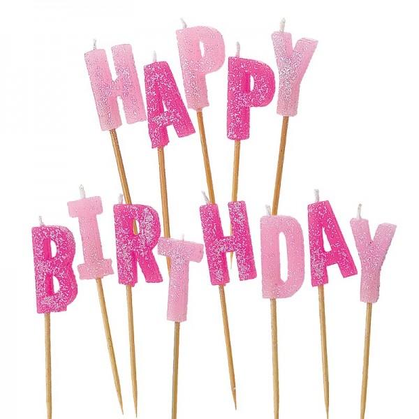 Glitzernder Happy Birthday Tortenkerze Rosa 1