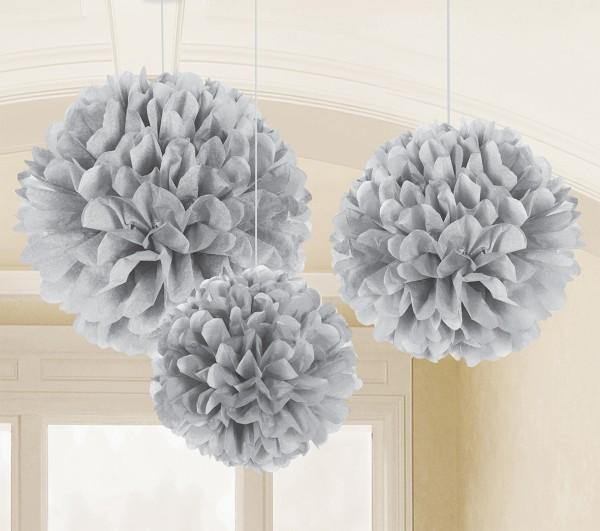 3 fluffy deco balls gray 40.6cm
