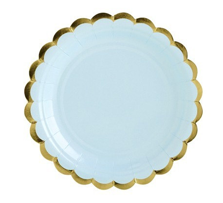 6 Assiettes en carton Candy Party bleu pastel 18cm