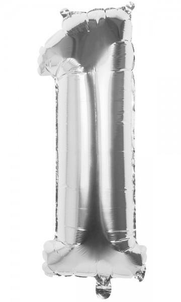 Palloncino numero 1 argento metallizzato 36cm