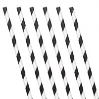 24 Papier-Trinkhalme schwarz-weiß 19 cm