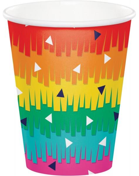 8 Rainbow Fiesta Pappbecher 256ml