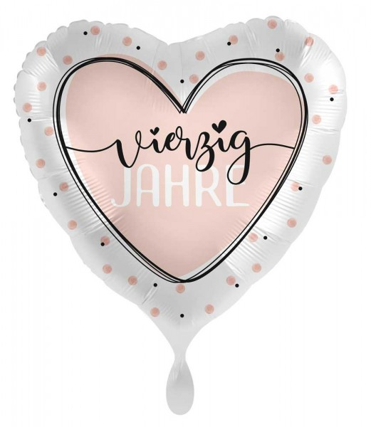 40. Geburtstag Ballon Shiny Heart 45cm