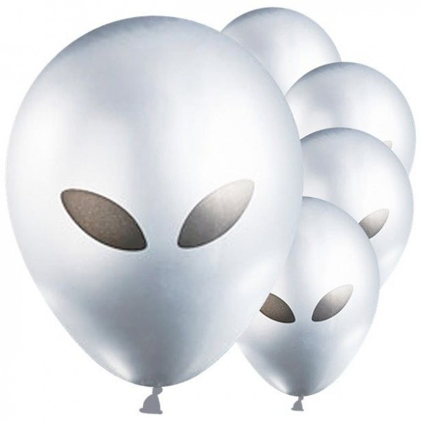 5 Silberne Alien Luftballons 28cm