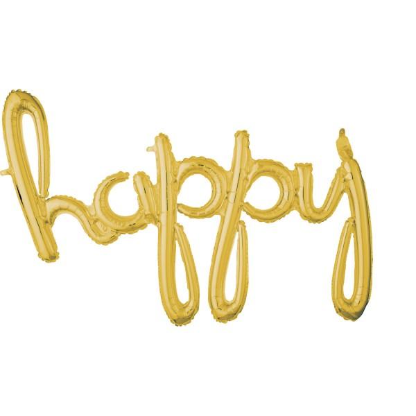 Goldener Schriftzug Happy 93 x 68cm