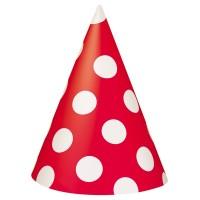 8 Partyhüte Tiana Rot Gepunktet 15cm