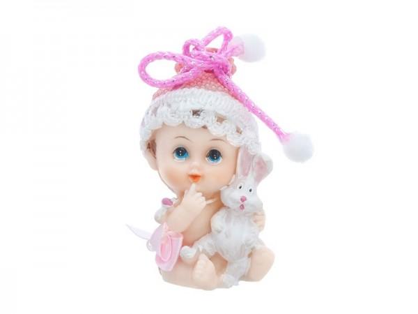 Bebé figura decorativa niña con conejito 6cm